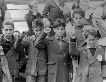 Children giving the Republican salute in Madrid.